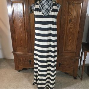 Joie 100% Silk Blue & Cream Stripe Maxi Tank Dress